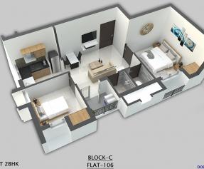 Isometric view Block C - Compact 2BHK