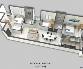 Isometric view Block A - 3BHK